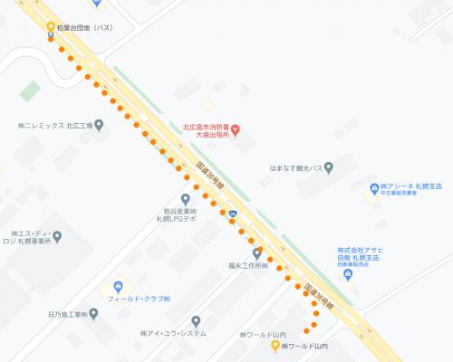 バス停からの当社の地図